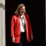 Conservative member of parliament Amber Rudd leaves after a meeting at 10 Downing Street in central London on May 11, 2015. AFP PHOTO / BEN STANSALL