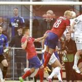 FC Vestsjællands kamp mod FC København blev ifølge en tysk anklager udsat for matchfixing. Her scorer Thomas Delaney (th) kampens eneste mål for københavnerne.