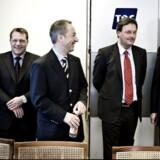 Flemming Hynkemejer (yderst til venstre) var med, da TDC i februar 2008 underskrev aftalen om, at det fremover er den svenske teleleverandør Ericsson, der skal stå for TDCs mobilnet i Danmark. Her ses han sammen med daværende mobildirektør Mads Middelboe, daværende koncernchef Jens Alder, Michael Beckstrøm og Ericssons topchef, Carl-Henric Svanberg. Foto: Liselotte Sabroe, Scanpix