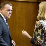 Spørgetime i Folketinget tirsdag d. 24. marts 2015. Lars Løkke Rasmuusen og Helle Thorning-Schmidt i samtale.