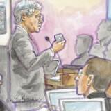 Apples advokat, Harold McElhinny, holder sin åbningsprocedure i den spektakulære retssag mellem Apple og Samsung i Californien. Tegning: Vicki Behringer, Reuters/Scanpix