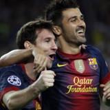 Lionel Messi og David Villa fejrer sidstnævntes anden scoring i kampen mod Champions League-modstanderen Spartak Moskva.