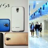 Den nye topmodel, Galaxy S5, skal hjælpe Samsung fremad, men trods et stigende mobilsalg falder Samsungs - og konkurrenten Apples - globale marekdsandel. Arkivfoto: Jung Yeon-Je, AFP/Scanpix