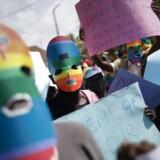 ARKIVFOTO. En frygtet ugandisk homolov bliver i dag underskrevet af præsident Yoweri Museveni. Her demonstrerer kenyanske medlemmer af LGBT-grupper i nabolandet mod anti-homoloven.