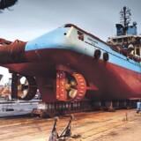 Forsyningsskibet Maersk Shipper måtte på værft i Las Palmas på Gran Canaria efter en brand, som i maj  kostede en afrikansk medarbejder livet.