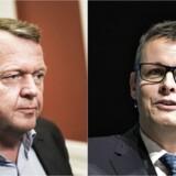 Herning-borgmester Lars Krarup (t.h.) kom i sidste weekend med kritik af Venstres politiske retning. Men der er højt til loftet og langt til døren, forsikrer Lars Løkke Rasmussen (t.v.)