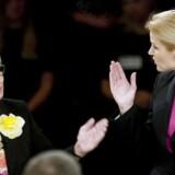 ARKIVFOTO: Thorning og Kjærsgaard under en partilederdebat i DRs koncerthus.