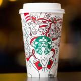 Bemærk de to, der holder i hånd øverst på Starbucks julekoppen. Er det to homoseksuelle? Det spekulerer flere medier over i USA. Pressefoto: Starbucks