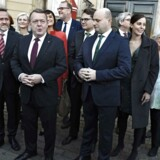 Ministerrokade - den nye trekløverregering under statsminister Lars Løkke Rasmussen præsenteres på Amalienborg Slotsplads.
