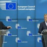 Arkivfoto: EU-præsident Donald Tusk (th.) og kommissionsformand Jean-Claude Juncker (tv.) vil de næste dage lægge sig i selen for, at der kan nås enighed om de sidste detaljer.
