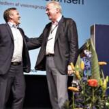 ARKIVFOTO fra Liberal Alliances landsmøde tidligere på året. Anders Samuelsen sammen med Lars Seier Christensen efter hans tale.