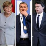 Frankrigs præsident, Francois Hollande. Tysklands kansler, Angela Merkel. Ungarns premierminister, Viktor Orban. Italiens premierminister, Matteo Renzi. Danmarks statsminister, Lars Løkke Rasmussen.