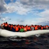 Sidste år kom 181.000 migranter til Italien, og langt de fleste stævnede ud fra det voldshærgede Libyen. Mindst 4.500 druknede, og det er fortsat for uformindsket styrke i år. Flere og flere sendes afsted i gummibåde, der ingen chance har for at nå hele vejen over Middelhavet. Her ses en sådan gummibåd ud for Libyens kýst den 2. januar i år. REUTERS/Yannis Behrakis/File Photo