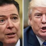 Ordkrigen mellem James Comey og Donald Trump eskalerer yderligere – både den fyrede FBI-direktør og præsidenten har meget på spil. / AFP PHOTO / Nicholas Kamm