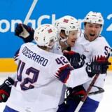 Norge slog Slovenien i ottendedelsfinalen og fejrede sejren på behørig vis. Reuters/Grigory Dukor