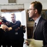 Miljø- og fødevareminister Esben Lunde Larsen (V) efter samråd om mulige indgreb over for kvotekonger.32. marts 2017.