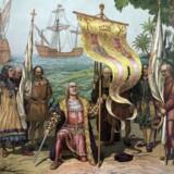 Christopher Columbus (1451-1506) går i land i den nye verden og lægger grundstenen til den spanske kolonisering af det kommende Amerika. Arkivbillede: AFP