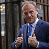 Formanden for Det Europæiske Råd, polske Donald Tusk, under et besøg hos Storbritanniens premierminister Theresa May i London tidligere på måneden. Netop Brexit-forhandlingerne bliver en stor test for det sammenhold mellem de 27 fortsættende EU-lande, der er så vigtigt for Tusk. / AFP PHOTO / Adrian DENNIS