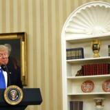 Den amerikanske præsident Donald Trump under sin tale til indsættelsesceremonien for landets nye udenrigsminister Rex Tillerson onsdag.