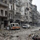 En ødelagt gade i det østlige Aleppo 13. december.
