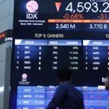 Arkivfoto. De asiatiske aktiemarkeder følger i Wall Streets negative fodspor fredag morgen, hvor investorerne sender aktierne ned i en risikoavers handel.