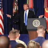 Trump brugte terrorangrebet i Barcelona forleden som et argument for, at hvis USA trak sig hurtigt ud af Afghanistan, så ville det skabe et vakuum, som terrorister hurtigt ville fylde. Mark Wilson/Getty Images/AFP