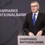 Pressemøde i Nationalbanken med nationalbankdirektør Lars Rohde