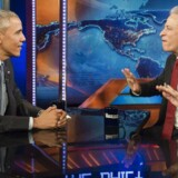 "US President Barack Obama hos Jon Stewart i ""The Daily Show ""  2015."