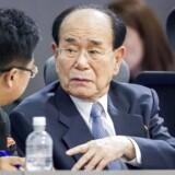 Nordkoreas parlamentsformand Kim Yong-nam, ikke at forveksle med afdøde Kim Jong-nam, skal lede en nordkoreansk delegation ved vinter-OL. Arkivfoto.