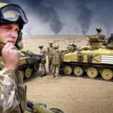 Britiske og danske styrker sluttede sig til den amerikanskledede koalitions angrebskrig mod Saddams Husseins regime i Irak i 2003 – og den sønderlemmende kritik af den britiske krigsindsats, som onsdag blev præsenteret i en officiel rapport, tænder igen op under den danske krigdsdebat. Foto: Bruce Adams/EPA