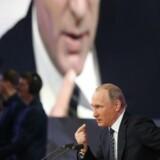 Ruslands præsident, Vladimir Putin, til sit årlige pressemøde i Moskva.