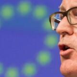 EU-Kommissionens 1. næstformand, Frans Timmermans, siger, at EU-Kommissionen nu er »meget tæt« på at indlede EUs Artikel 7 mod Polen, som kan ende med at fratage landet stemmeretten i EU. Det sker, efter at Polens nationalkonservative regering har fremsat en række lovforslag, der skal give regerningen kontrol med landets domstole. EPA/STEPHANIE LECOCQ