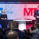 1. februar annoncerede TDCs topchef, Pernille Erenbjerg, og MTG Nordics topchef, Anders Jensen, planerne om, at TDC køber MTGs underholdningsdel for 15 milliarder kroner. Nu er købet tilsyneladende faldet fra hinanden. Arkivfoto: Uffe Weng, Scanpix