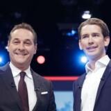 Østrig rykker til højre. Efter søndagens valg tyder meget på, at Heinz Christian Strache (tv.) fra Frihedspartiet og Sebastian Kurz fra det konservative ÖVP vil danne regering.