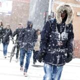 Årets første sne i Randers mandag d. 13. januar 2014. (Foto: Lars Rasborg/Scanpix 2014)