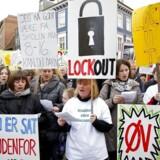 Demonstration i forbindelse med lockouten af lærere under konflikten i 2013. Nu er en storkonflikt, der kan resultere i både strejke og lockout, rykket nærmere.