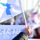 Det fælles flag forestiller en silhuet af den koreanske halvø, men nogle små prikker har skabt uventede problemer.