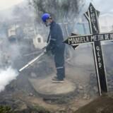 En gravplads i udkanten af Lima i Peru bliver røgbehandlet for at undgå spredning af Zika og Chikunguya-virus.