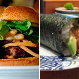 """Den dyre """"The Burger"""" og den billige """"Kulu Kulu, sushi""""."""