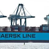 Mærsk Q1: Pænt overskud i første kvartal BV. : Verdens største containerskib 'Mærsk Mc-Kinney Møller' i Aarhus Havn. Tilstrømningen var stor mandag den 26. august 2013, hvor man på afstand kunne beundrer verdens største containerskib der lå til kajs i Aarhus.