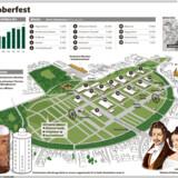 Der forventes omkring seks millioner gæster til oktoberfest i München. Se kortet over den centrale festplads herunder.
