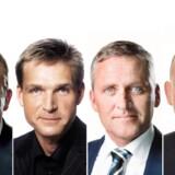 Lars Løkke Rasmussen, Partiformand (V), Kristian Thulesen Dahl, Partiformand (DF), Anders Samuelsen, Partileder (LA) og Søren Pape Poulsen, Politisk leder (K)
