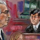 Bernard Madoff blev idømt 150 års i 2009. Tegningen viser ham i retten i New York.