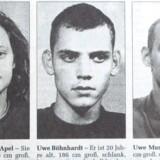 Dette billede stammer fra avisen Ostthueringer Zeitung, da politiet i 1998 eftersøgte de tre nynazister for at have placeret rørbomber. Beate Zschäpe (t.v.) er anholdt, de to andre begik selvmord og brændte derefter den lejlighed ned, hvor de tre boede sammen.