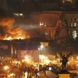Uroligheder fortsætter i Ukraine. Her på Uafhængighedspladsen i hovedstaden Kiev.
