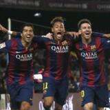 Dyre drenge. Barcelonas Luis Suarez, Neymar og Lionel Messi går over i historien som nogle af verdens dyreste handler i fodbold.