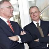 Formand Fritz Schur (til venstre) i samtale med direktør Anders Eldrup - inden sagen om de vilde lønninger i DONG eksploderede i pressen.