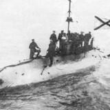 Et søsterskib til den sunkne ubåd, Beluga. Fotograferet før 1917.