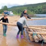 Inden turen ud på Klarälven skal familien først selv bygge tømmerflåden. Det er tungt arbejde, men ved fælles hjælp lykkes det, og stoltheden er stor.
