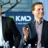 Danmarks nye videnskabsminister, Morten Østergaard (til højre), blev i gymnasietiden kaldt Morten Morten Østergaard. Her er han under valgkampen med en anden Morten, Morten Bødskov, ny socialdemokratisk justitsminister, under et debatmøde hos KMD (tidligere Kommunedata) i Ballerup. Arkivfoto: Keld Navntoft, Scanpix